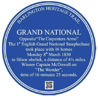 Six blue plaques of the Harlington Trail
